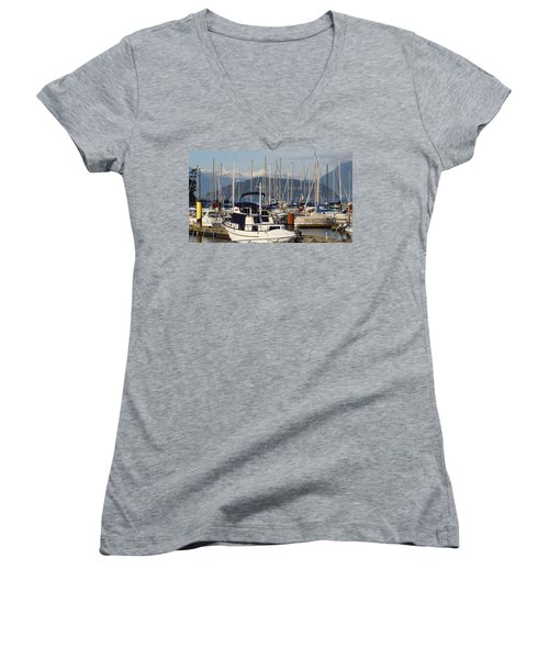 Women's V-Neck T-Shirt (Junior Cut) featuring the painting Docked For The Day by Rod Jellison