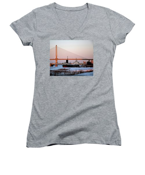 Docked Under The Glass City Skyway  Women's V-Neck (Athletic Fit)