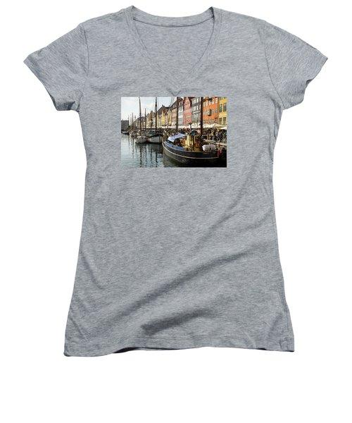 Dockside At Nyhavn Women's V-Neck T-Shirt