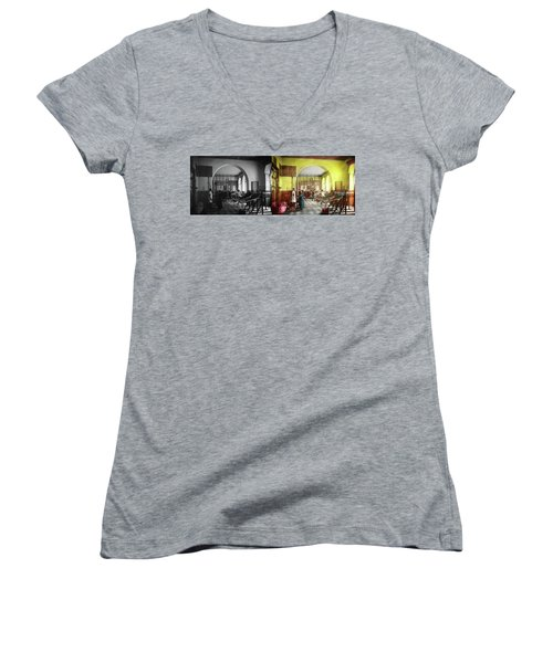 Women's V-Neck T-Shirt featuring the photograph Doctor - Physical Therapist - Welcome To The A Traction 1918 - Side By Side by Mike Savad
