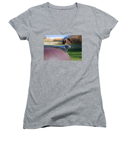 Women's V-Neck T-Shirt (Junior Cut) featuring the photograph Dodge Emblem by Ely Arsha