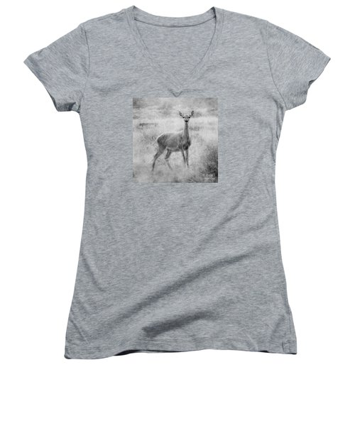 Women's V-Neck T-Shirt (Junior Cut) featuring the photograph Doe A Deer A Female Deer In Mono by Linsey Williams