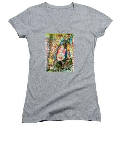 Doe Eyed Girl And Her Spirit Guides Women's V-Neck (Athletic Fit)