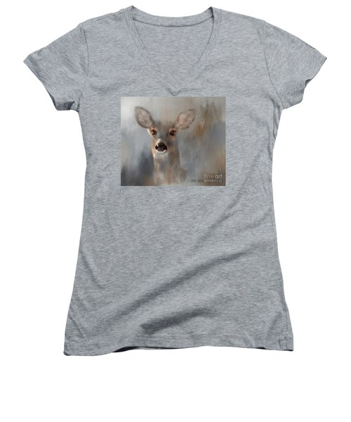 Doe Eyes Women's V-Neck T-Shirt (Junior Cut) by Kathy Russell