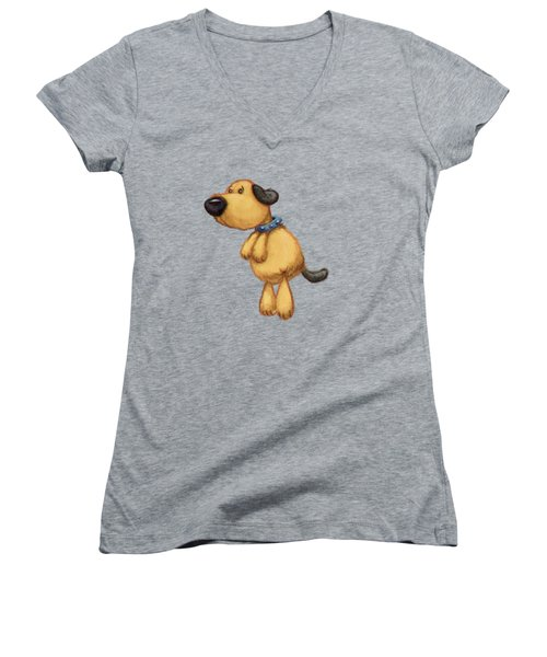 dog Women's V-Neck T-Shirt (Junior Cut) by Andy Catling