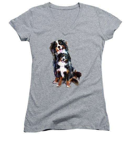 Dog Family Women's V-Neck T-Shirt