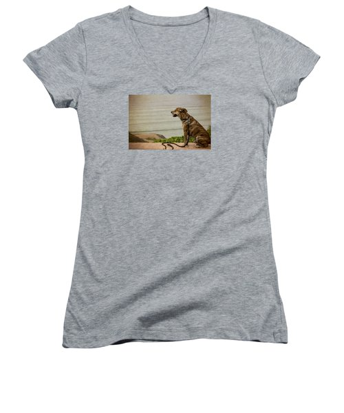 Dog On The Beach Women's V-Neck (Athletic Fit)