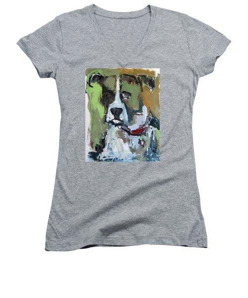Women's V-Neck T-Shirt (Junior Cut) featuring the painting Dog Portrait by Robert Joyner