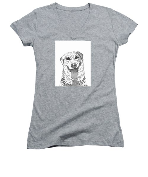 Women's V-Neck T-Shirt (Junior Cut) featuring the drawing Dog Sketch In Charcoal 2 by Ania M Milo