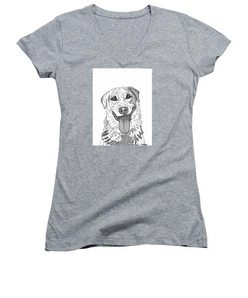 Dog Sketch In Charcoal 2 Women's V-Neck T-Shirt