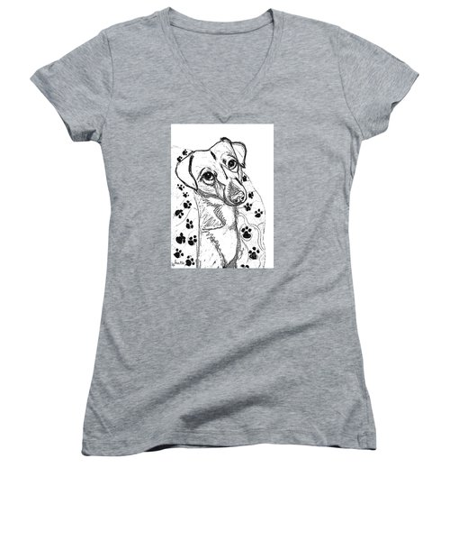 Women's V-Neck T-Shirt (Junior Cut) featuring the drawing Dog Sketch In Charcoal 4 by Ania M Milo