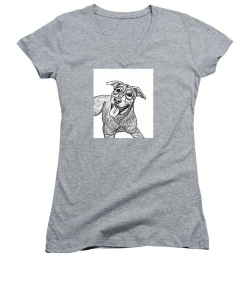 Dog Sketch In Charcoal 5 Women's V-Neck T-Shirt