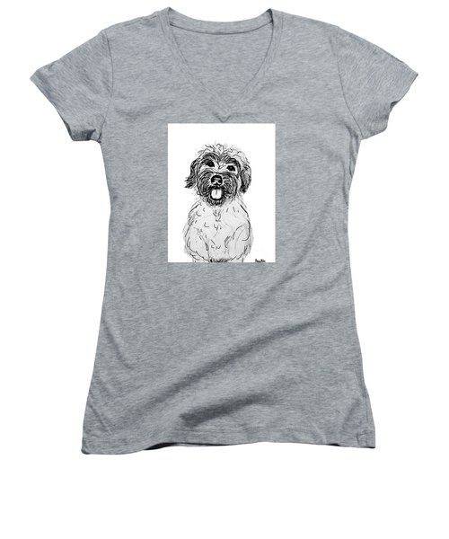 Women's V-Neck T-Shirt (Junior Cut) featuring the drawing Dog Sketch In Charcoal 6 by Ania M Milo