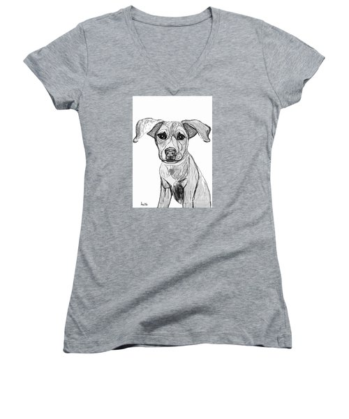 Women's V-Neck T-Shirt (Junior Cut) featuring the drawing Dog Sketch In Charcoal 7 by Ania M Milo