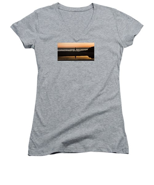 Dog Walker At Sunset Women's V-Neck