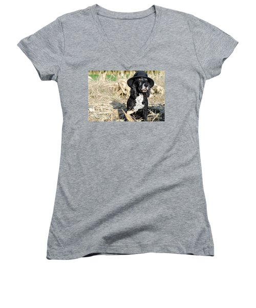 Dog With A Hat Women's V-Neck (Athletic Fit)