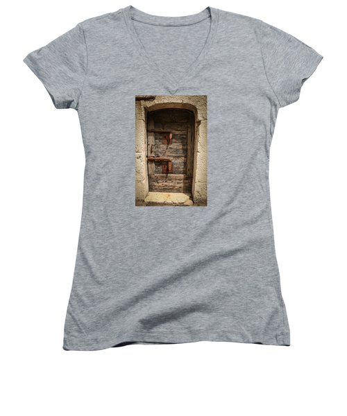 Women's V-Neck T-Shirt (Junior Cut) featuring the photograph Doge's Jail Door by Kathleen Scanlan