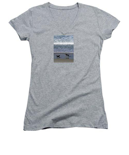 Women's V-Neck T-Shirt featuring the photograph Doggie Fun by Nareeta Martin