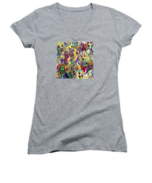 Dogs Dogs Dogs Women's V-Neck T-Shirt (Junior Cut) by Eloise Schneider
