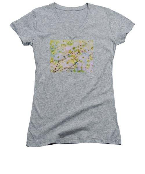 Dogwood Blossoms Women's V-Neck T-Shirt