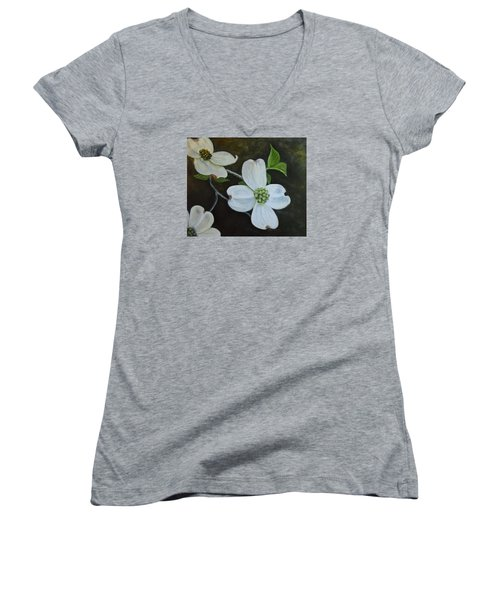 Women's V-Neck T-Shirt (Junior Cut) featuring the painting Dogwood Dream by Sandra Nardone