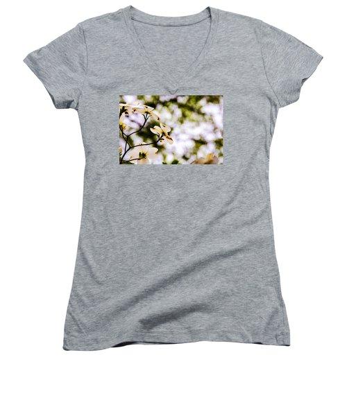 Dogwoods Under The Pines Women's V-Neck T-Shirt