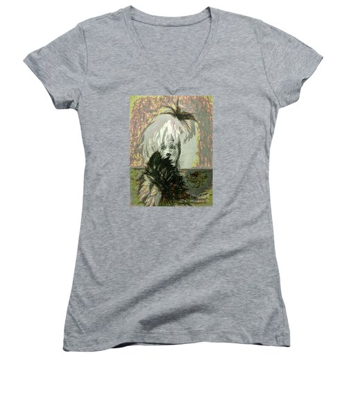 Women's V-Neck T-Shirt (Junior Cut) featuring the photograph Doll Face  ... by Chuck Caramella