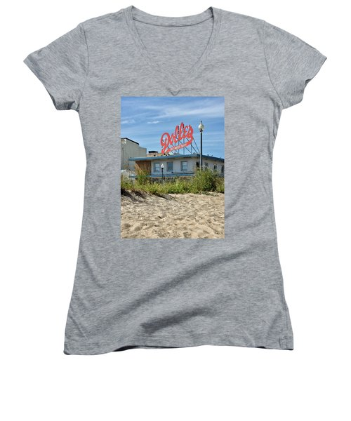 Women's V-Neck T-Shirt (Junior Cut) featuring the photograph Dolles From The Beach - Rehoboth Beach Delaware by Brendan Reals