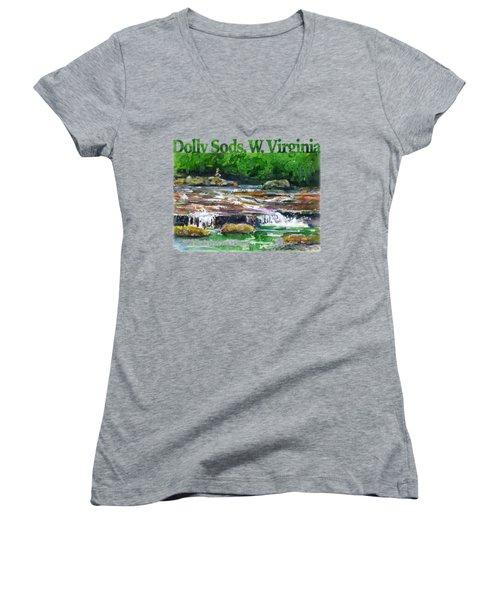 Dolly Sods Waterfalls Wv Shirt Women's V-Neck (Athletic Fit)
