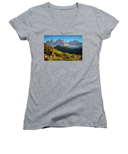 Dolomite Village In Autumn Women's V-Neck T-Shirt (Junior Cut) by IPics Photography