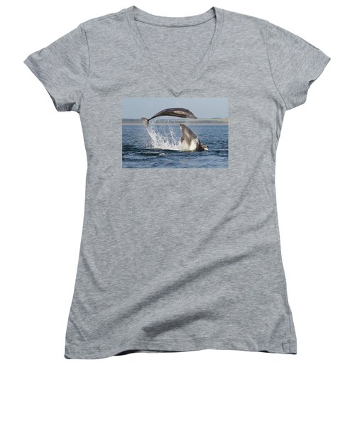 Dolphins Having Fun Women's V-Neck (Athletic Fit)