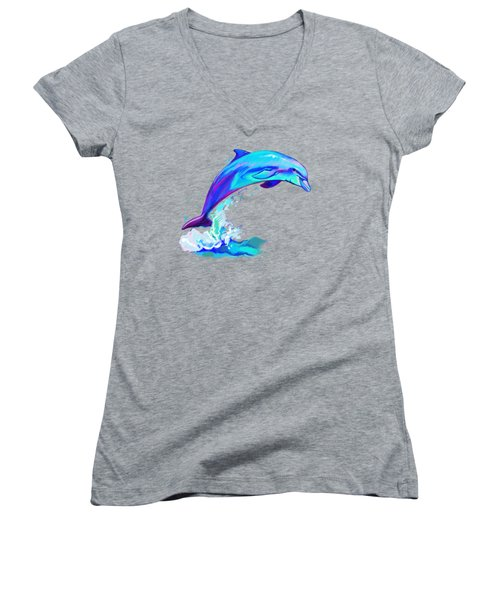Dolphin In Colors Women's V-Neck T-Shirt