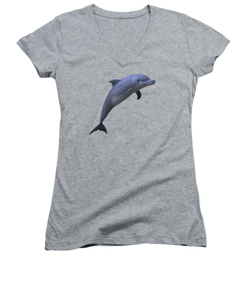 Dolphin In Ocean Blue Women's V-Neck T-Shirt