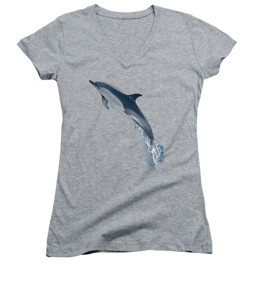 Dolphin Leaping T-shirt Women's V-Neck T-Shirt