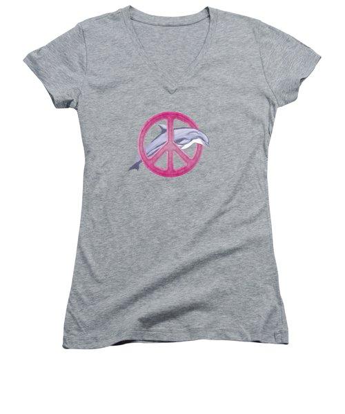 Dolphin Peace Pink Women's V-Neck T-Shirt (Junior Cut) by Chris MacDonald