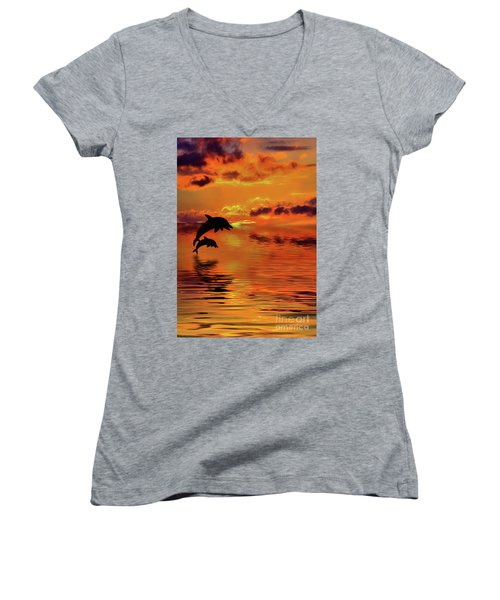 Women's V-Neck T-Shirt featuring the digital art Dolphin Silhouette Sunset By Kaye Menner by Kaye Menner