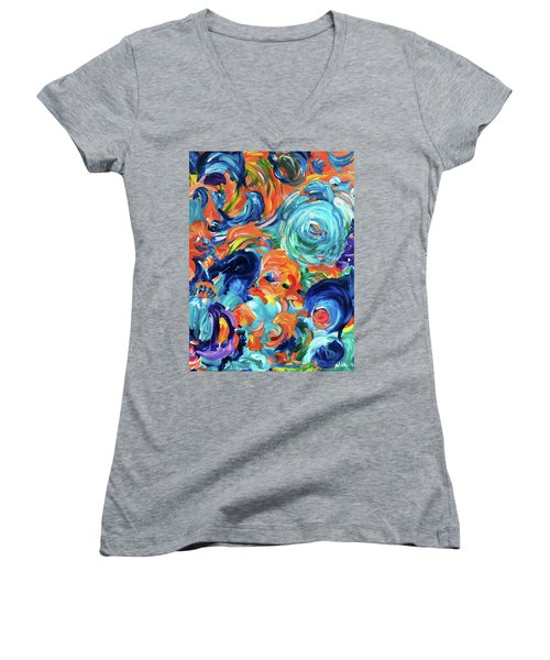 Dolphins Playing In Peonies Women's V-Neck (Athletic Fit)