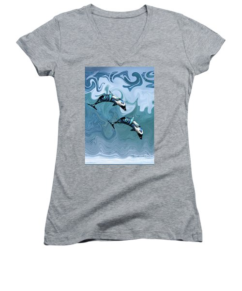 Dolphins Playing In The Waves Women's V-Neck