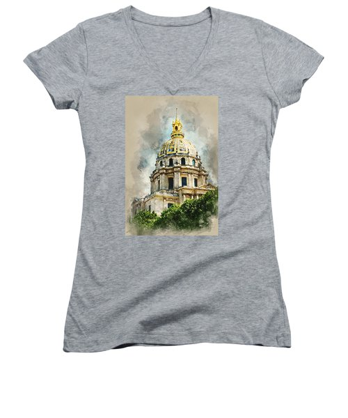 Women's V-Neck T-Shirt (Junior Cut) featuring the digital art Dome Des Invalides by Kai Saarto