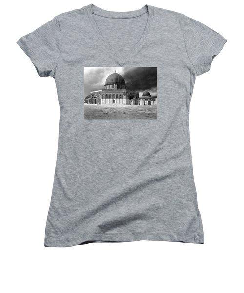 Dome Of The Rock - Jerusalem Women's V-Neck T-Shirt (Junior Cut) by Munir Alawi