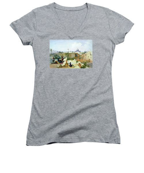 Dome Of The Rock In The Background Women's V-Neck T-Shirt (Junior Cut) by Munir Alawi