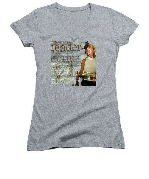 Domestic Considerations  Gender Norms Women's V-Neck T-Shirt (Junior Cut) by Ann Tracy