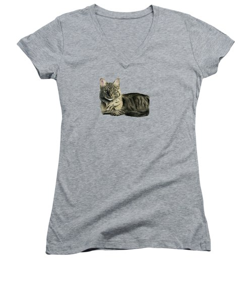 Domestic Medium Hair Cat Watercolor Painting Women's V-Neck (Athletic Fit)