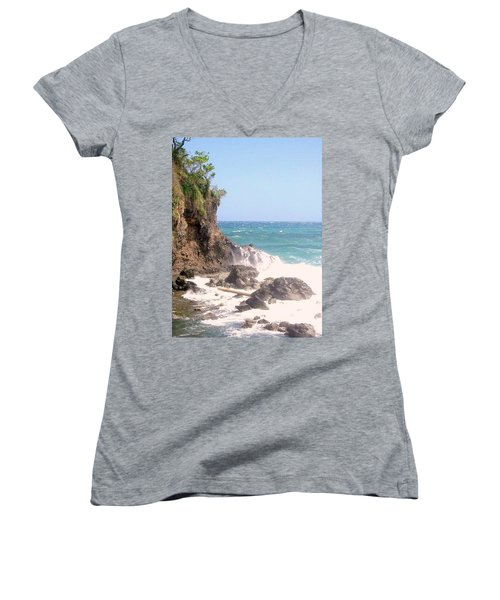 Women's V-Neck T-Shirt (Junior Cut) featuring the photograph Dominica North Atlantic Coast by Ian  MacDonald