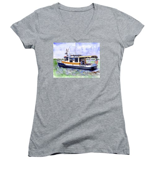 Don And Kathys Boat Women's V-Neck T-Shirt (Junior Cut)