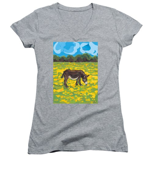 Donkey And Buttercup Field Women's V-Neck T-Shirt (Junior Cut) by Sarah Gillard