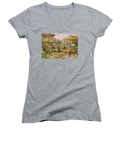 Donkey And Farmyard Fowl  Women's V-Neck T-Shirt (Junior Cut) by Carl Donner