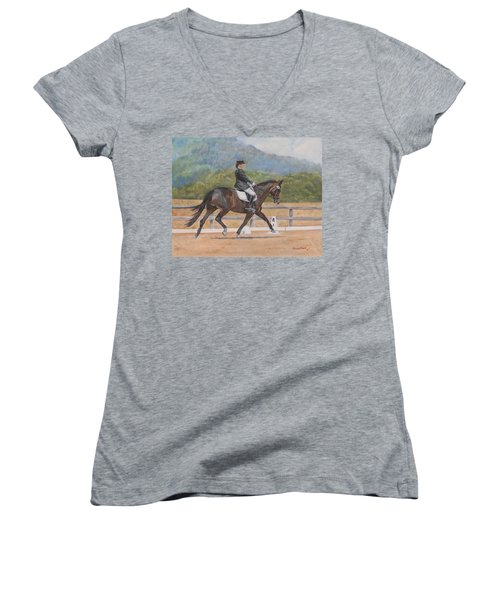 Women's V-Neck T-Shirt (Junior Cut) featuring the painting Donnerlittchen by Quwatha Valentine