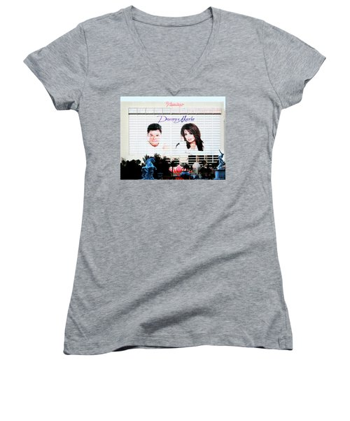 Donny And Marie Osmond Large Ad On Hotel Women's V-Neck