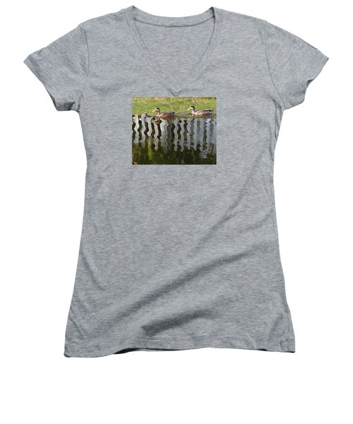 Don't Fence Us In Women's V-Neck T-Shirt (Junior Cut) by Kathy M Krause